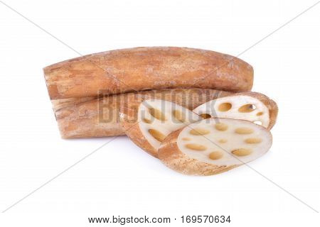 raw lotus root on a white background