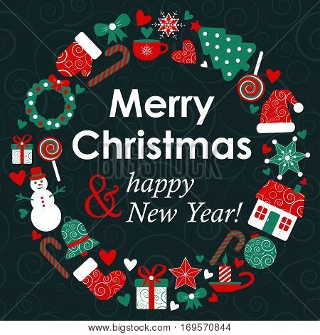 vector christmass greeting card with holiday design elements. EPS