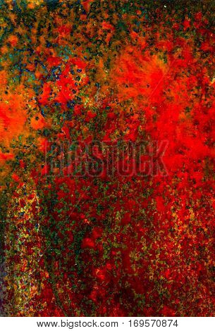 Original abstract acrylic color painting on artistic canvas. Hand painted artwork or grunge background. Colorful texture paintings for wall decor. Modern and contemporary red and green rich dark art