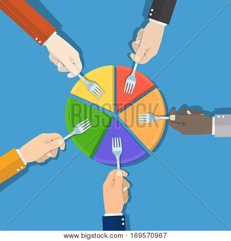 Five Businessmen Hands hold fork picking pie chart parts. Financial, market concepts. vector illustration in flat design