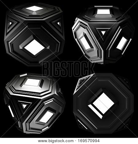 Abstract 3d rendering of low poly black cube with chaotic structure. Sci-fi background with wireframe and globe in empty space. Futuristic shape. 3d Render Illustration