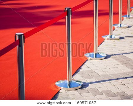 Red Carpet fence pole with red ropes Fashion show Event background