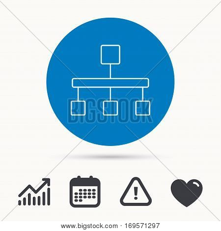 Hierarchy icon. Organization chart sign. Database symbol. Calendar, attention sign and growth chart. Button with web icon. Vector