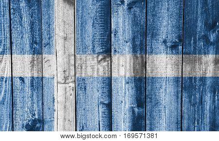 Flag Of Shetland Islands On Weathered Wood