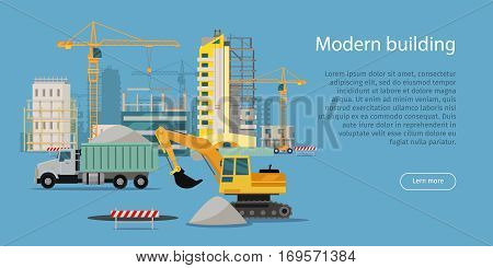 Modern building. Building process web banner in flat style. Unloading of sand. Construction of residential houses banners set. Big building area. Icons of construction machinery. Vector illustration