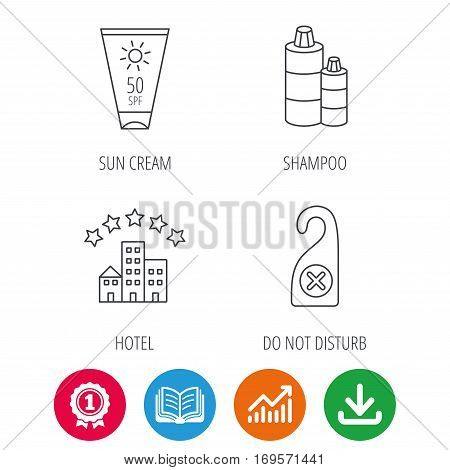 Hotel, shampoo and sun cream icons. Do not disturb linear sign. Award medal, growth chart and opened book web icons. Download arrow. Vector