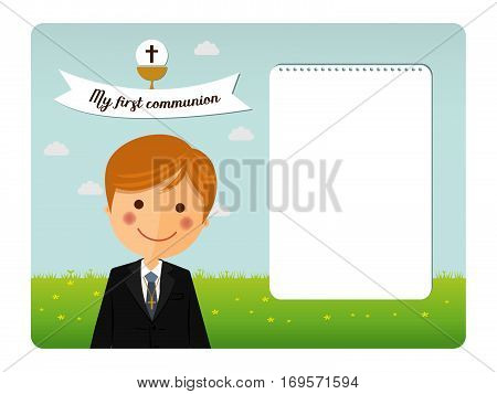Foreground child costume in her first communion dress invitation