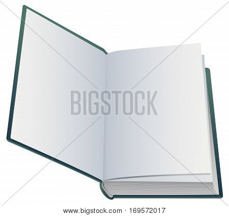 First blank page of open book. Isolated on white vector illustration