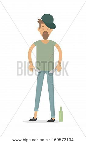 Pauper men with empty pockets isolated on white. Bottle of vodka whisky near by. Alky, wino male. Unfortunate, poverty pleb. Alcoholic, dipsomaniac, drunkard. Vector illustration in flat style