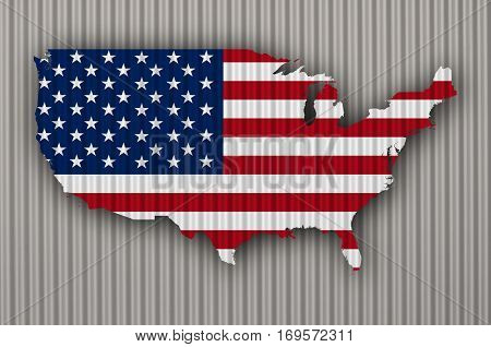 Map And Flag Of The Usa On Corrugated Iron