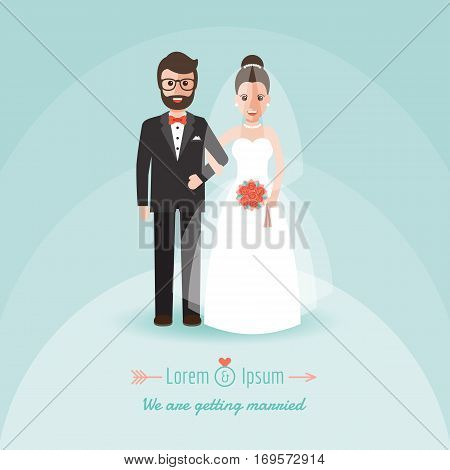Groom and bride couple holding hands on wedding ceremony. Wedding invitation in flat design people characters.
