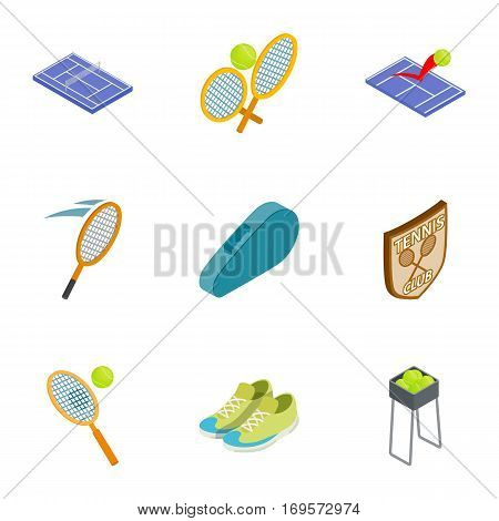 Sports equipment for tennis icons set. Isometric 3d illustration of 9 sports equipment for tennis vector icons for web