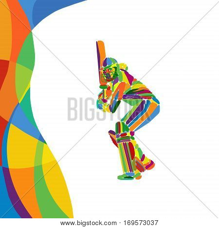 Young Cricketer Is Batsman Colorful Vector Art. Eps 10