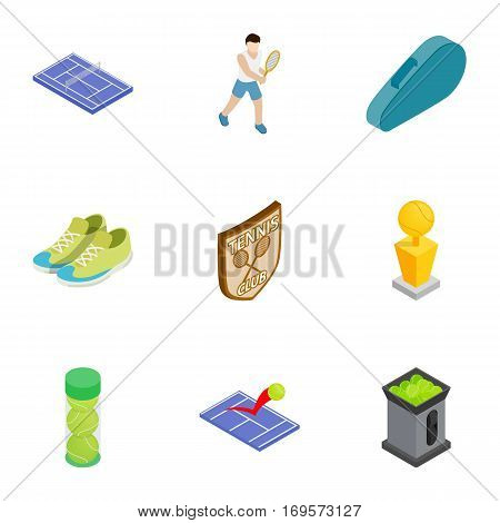 Tennis sport icons set. Isometric 3d illustration of 9 tennis sport vector icons for web