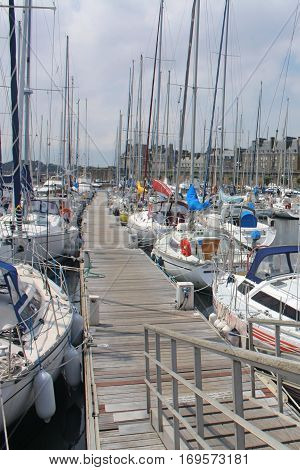 Yachts in Saint-Malo, beautiful colorful boats, tourism