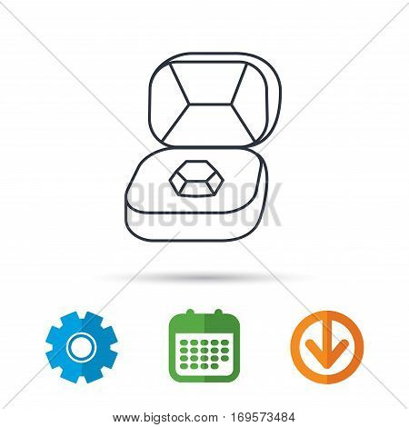 Brilliant jewellery icon. Engagement sign. Calendar, cogwheel and download arrow signs. Colored flat web icons. Vector
