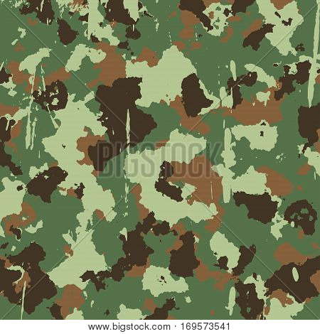 vector military camouflage pattern in green and brown colors. EPS