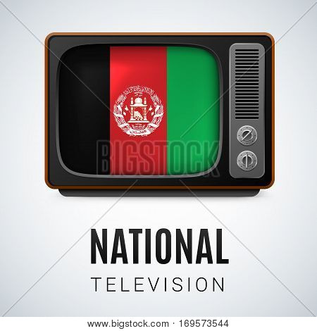 Vintage TV and Flag of Afghanistan as Symbol National Television. Tele Receiver with Afghan flag
