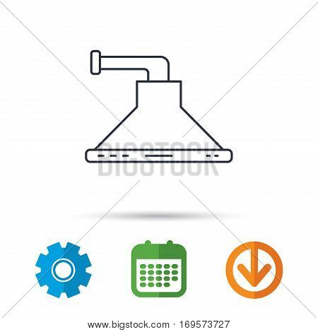 Kitchen hood icon. Kitchenware equipment sign. Calendar, cogwheel and download arrow signs. Colored flat web icons. Vector