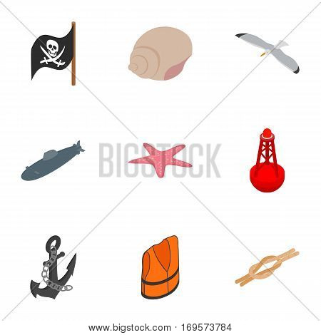 Seafaring icons set. Isometric 3d illustration of 9 seafaring vector icons for web