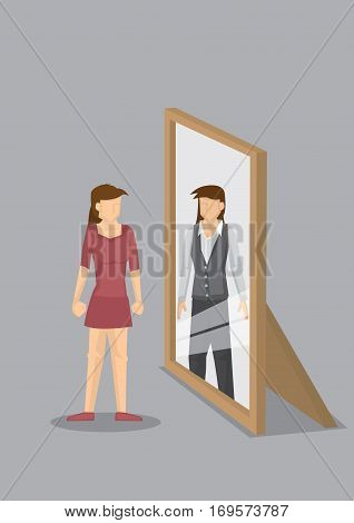 Woman standing in front of mirror and seeing herself as a professional in reflection. Creative vector cartoon vector illustration on self-perception concept isolated on grey background.
