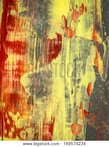 Red yellow and gray fine art abstract painting, acrylic paint on canvas painted with pallet knife , great artistic artwork background, texture or wall decor  created with layers of mixed media