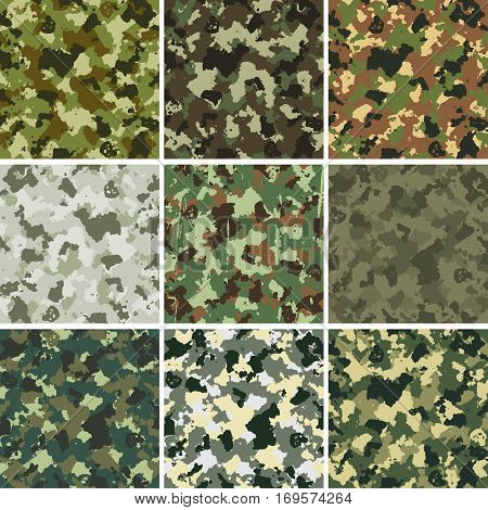 set of nine vector colorful military patterns. EPS