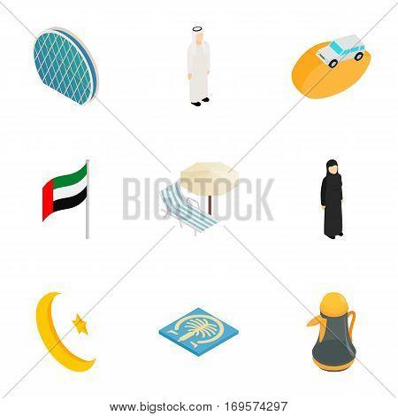 United Arab Emirates elements icons set. Isometric 3d illustration of 9 United Arab Emirates elements vector icons for web