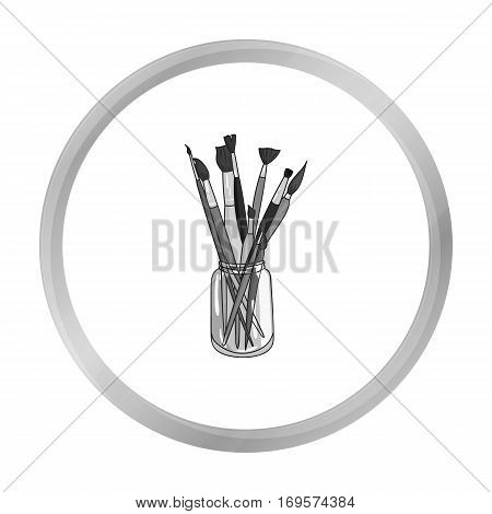 Paintbrushes for painting in the jar icon in monochrome style isolated on white background. Artist and drawing symbol vector illustration.