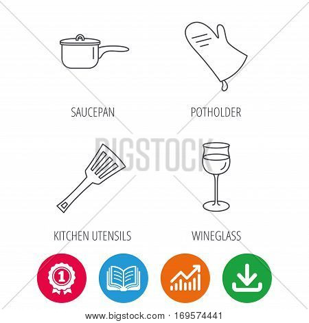 Saucepan, potholder and wineglass icons. Kitchen utensils linear sign. Award medal, growth chart and opened book web icons. Download arrow. Vector