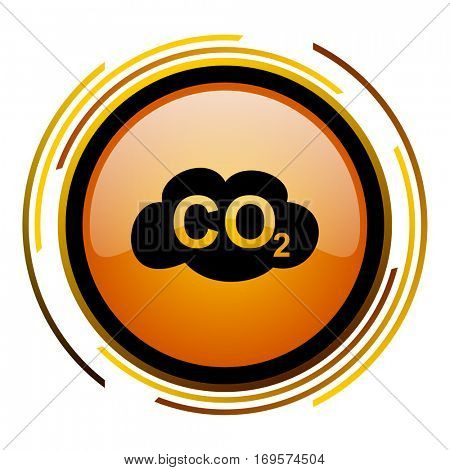 Carbon dioxide vector icon. Modern design round orange button isolated on white background for web and applications in eps10.