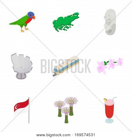 Singapore icons set. Isometric 3d illustration of 9 Singapore vector icons for web