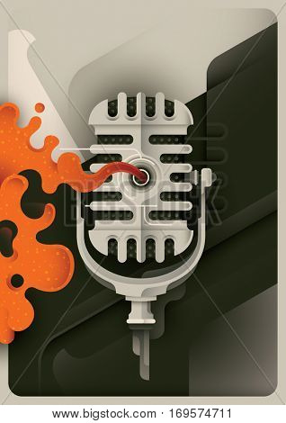 Retro style Jazz poster with microphone and abstract design elements. Vector illustration.