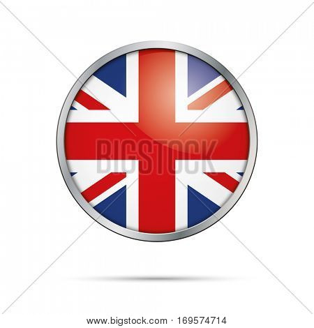 Vector British flag Button. United Kingdom flag glass button style with metal frame.