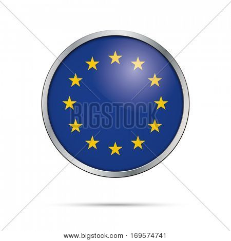 Vector European flag Button. European Union flag glass button style with metal frame.