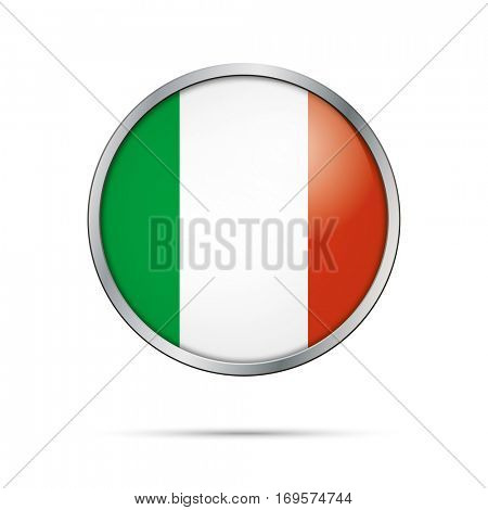 Vector Italian flag Button. Italy flag glass button style with metal frame.