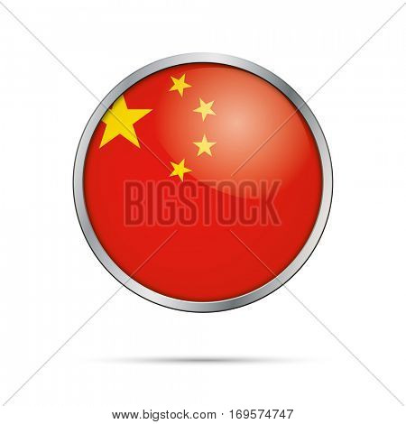 Vector Chinese flag Button. Peoples Republic of China flag glass button style with metal frame.