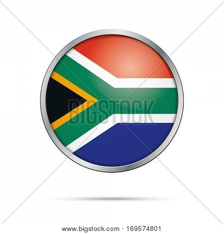 Vector South-African flag Button. Republic of South Africa flag glass button style with metal frame.