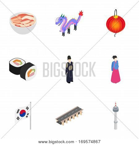 Travel to South Korea icons set. Isometric 3d illustration of 9 travel to South Korea vector icons for web