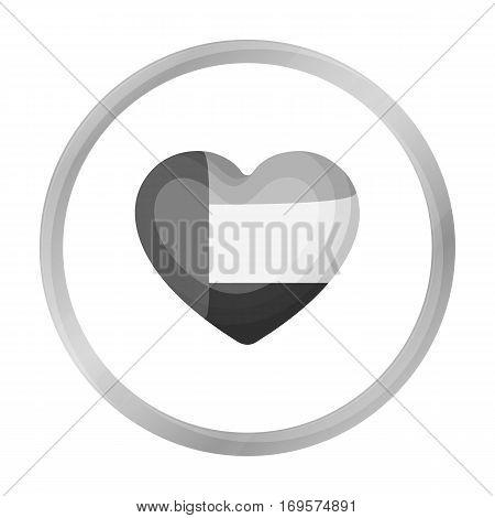 United Arab Emirates heart icon in monochrome style isolated on white background. Arab Emirates symbol vector illustration.