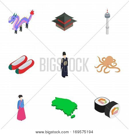 South Korea travel symbols icons set. Isometric 3d illustration of 9 South Korea vector icons for web