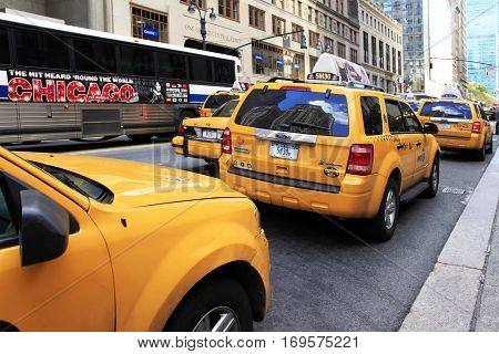 New York NY USA - October 12 2012: Traffic jam on the street in New York City. Manhattan New York City