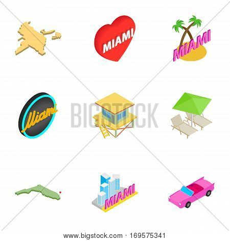 Miami icons set. Isometric 3d illustration of 9 Miami vector icons for web