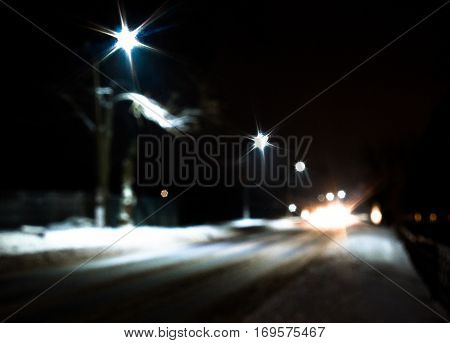 Winter Driving - Lights of car and winter road in dark night forest, long exposure broken tree in forest tree trunk forest winter landscape dry branches