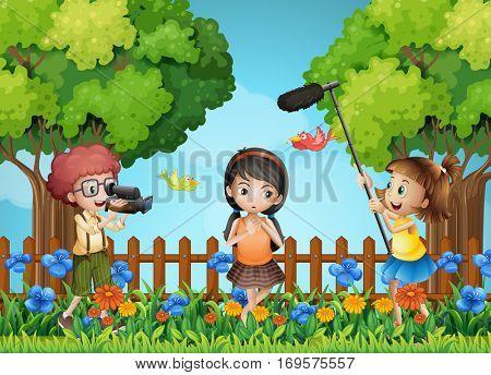 Children filming little girl in the park illustration