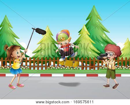 Children shooting boy playing skateboard illustration