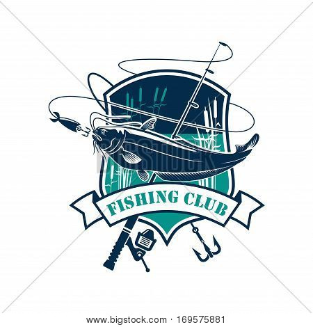 Fishing icon or fisher club vector emblem of sheatfish or catfish catch on hook, fish rod and float with bait lure. Badge with lake and ribbon for fishery industry and fisherman adventure sport