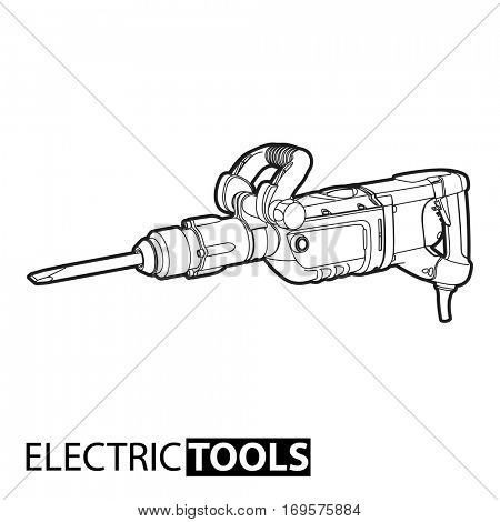 outline jackhammer illustration on white background