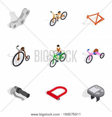 Bicycle sport fitness icons set. Isometric 3d illustration of 9 bicycle sport fitness vector icons for web