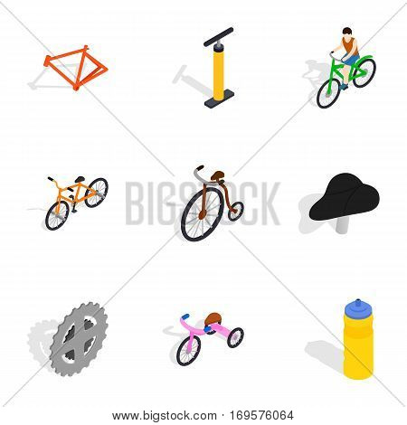 Biking icons set. Isometric 3d illustration of 9 biking vector icons for web